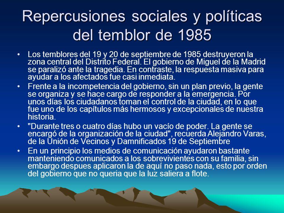 Repercusiones sociales y políticas del temblor de 1985