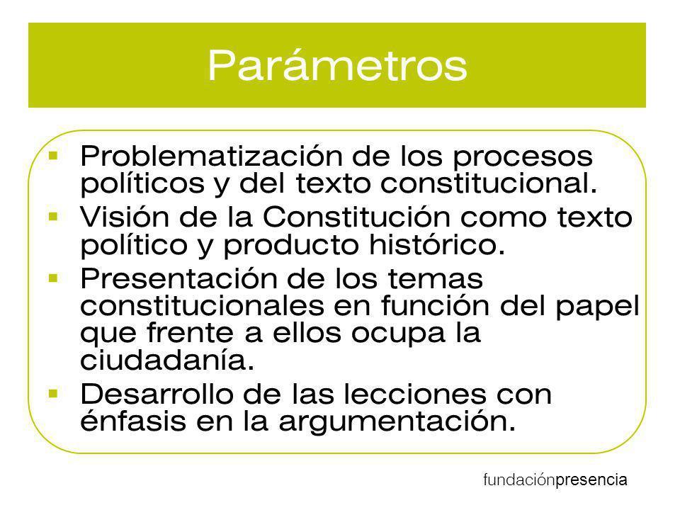 Parámetros Problematización de los procesos políticos y del texto constitucional.
