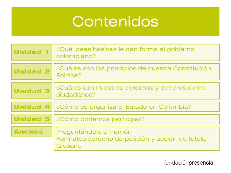 Contenidos Unidad 1. ¿Qué ideas básicas le dan forma al gobierno colombiano Unidad 2.