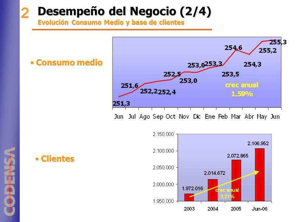 2 Desempeño del Negocio (2/4) Consumo medio Clientes