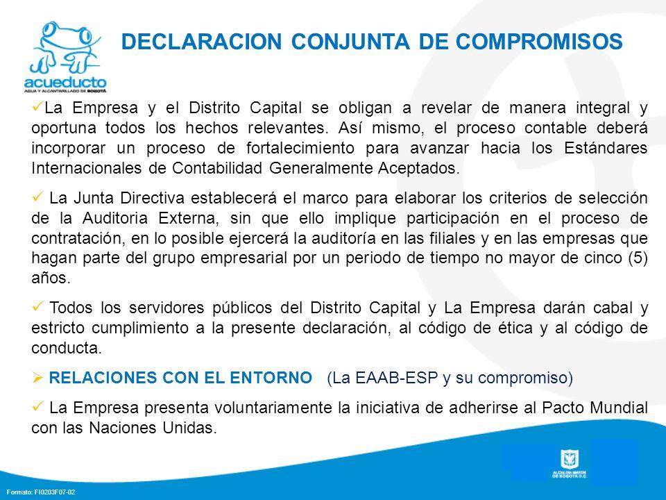 DECLARACION CONJUNTA DE COMPROMISOS
