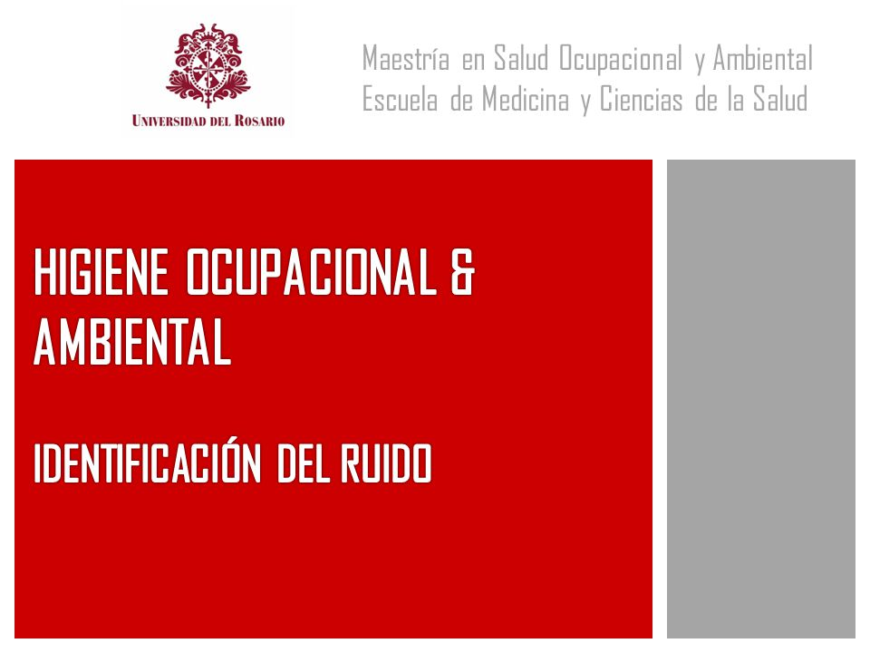 HIGIENE OCUPACIONAL & AMBIENTAL IDENTIFICACIÓN DEL RUIDO