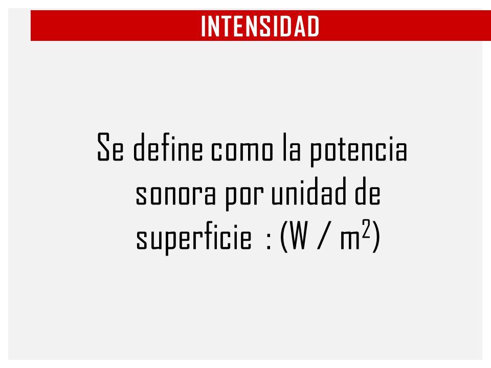 Se define como la potencia sonora por unidad de superficie : (W / m2)