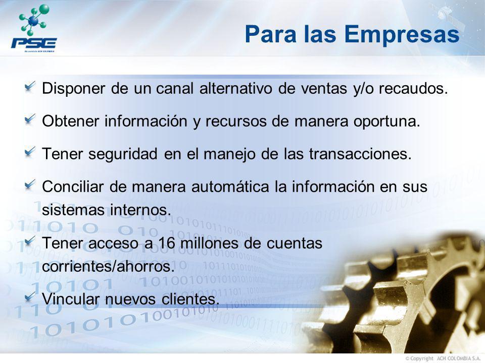 Para las Empresas Disponer de un canal alternativo de ventas y/o recaudos. Obtener información y recursos de manera oportuna.