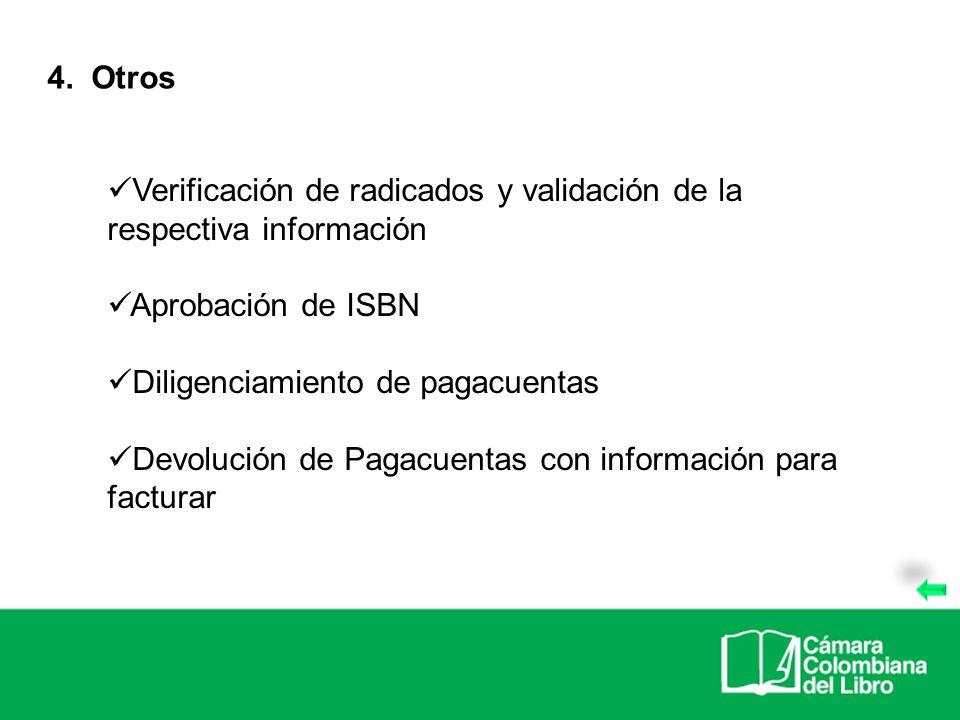 4. Otros Verificación de radicados y validación de la respectiva información. Aprobación de ISBN.