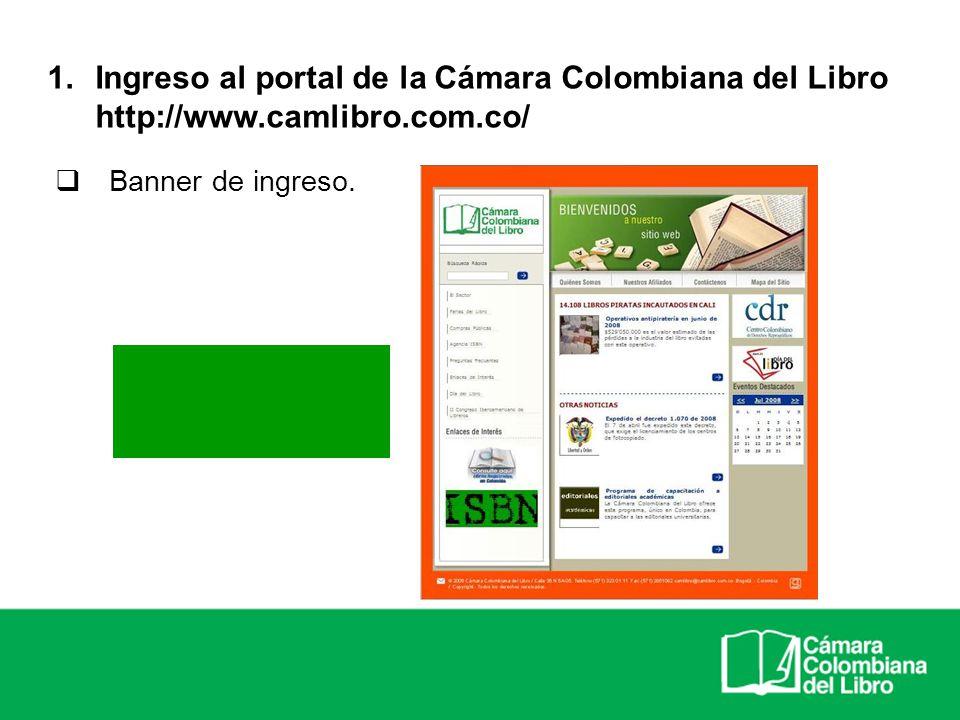 Ingreso al portal de la Cámara Colombiana del Libro http://www