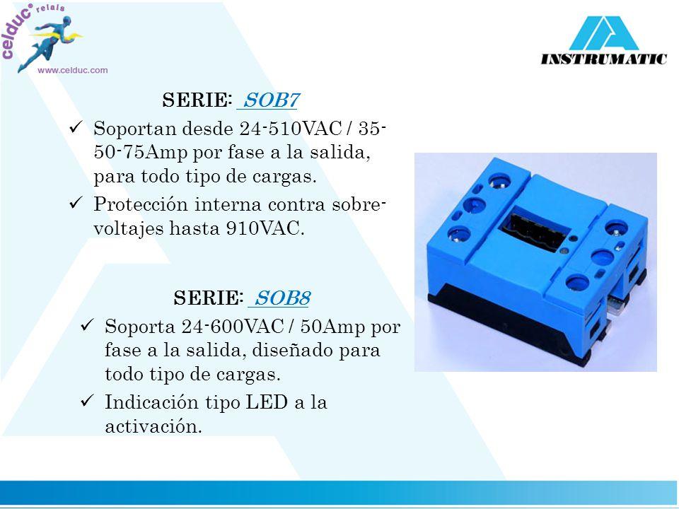 SERIE: SOB7 Soportan desde 24-510VAC / 35-50-75Amp por fase a la salida, para todo tipo de cargas.