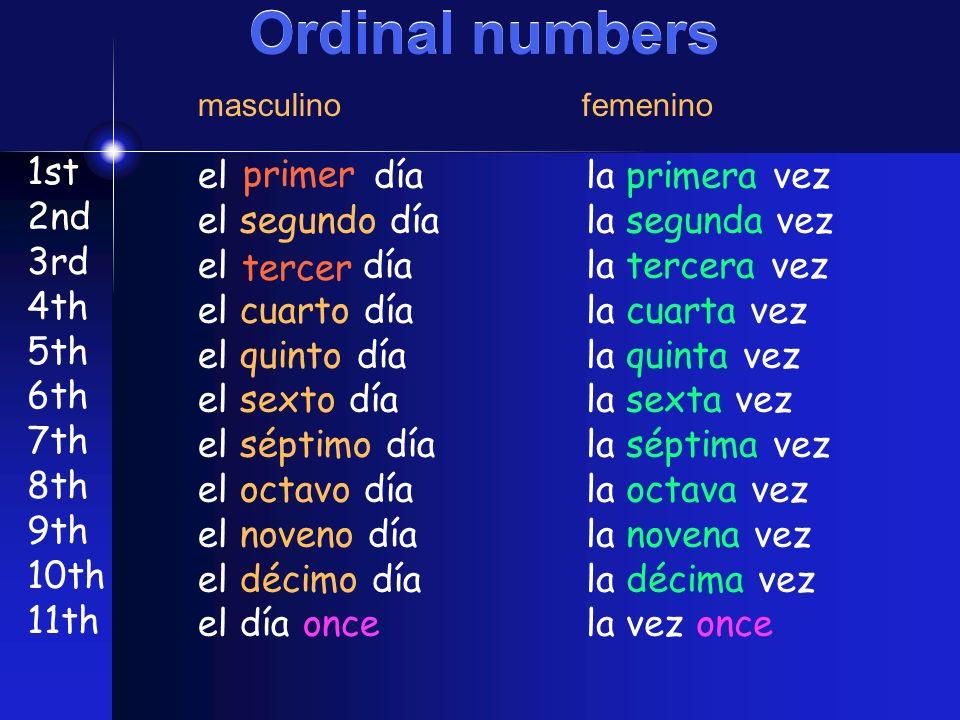 Ordinal numbers 1st 2nd 3rd 4th 5th 6th 7th 8th 9th 10th 11th el día