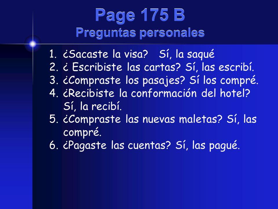 Page 175 B Preguntas personales