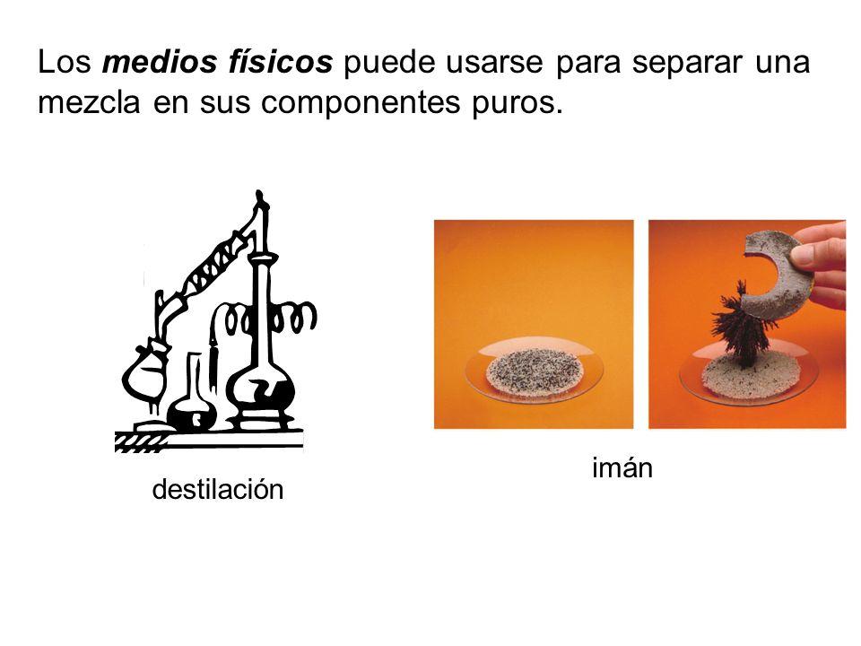 Los medios físicos puede usarse para separar una mezcla en sus componentes puros.