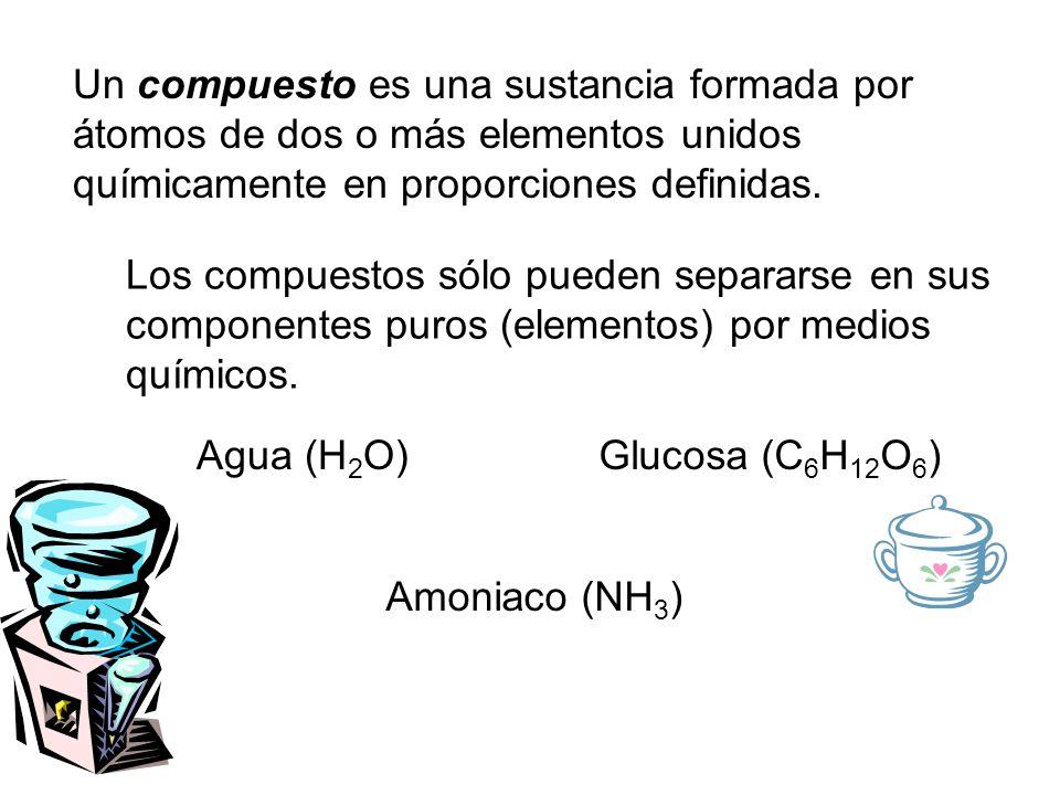 Un compuesto es una sustancia formada por átomos de dos o más elementos unidos químicamente en proporciones definidas.