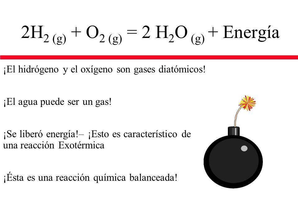2H2 (g) + O2 (g) = 2 H2O (g) + Energía
