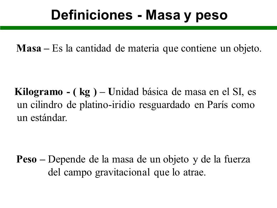 Definiciones - Masa y peso