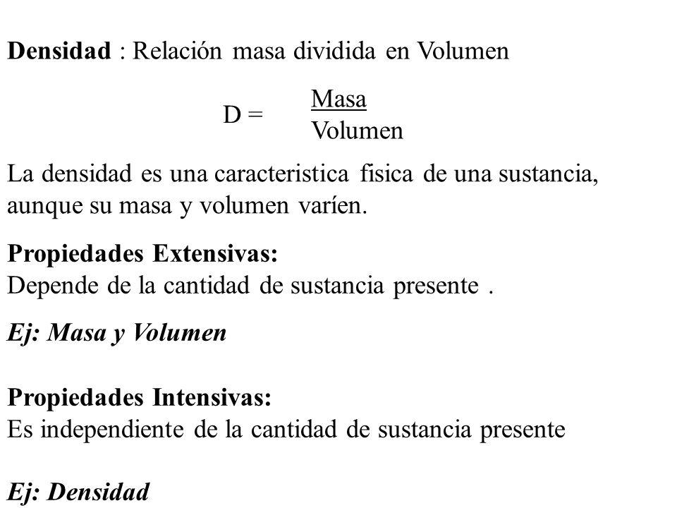Densidad : Relación masa dividida en Volumen