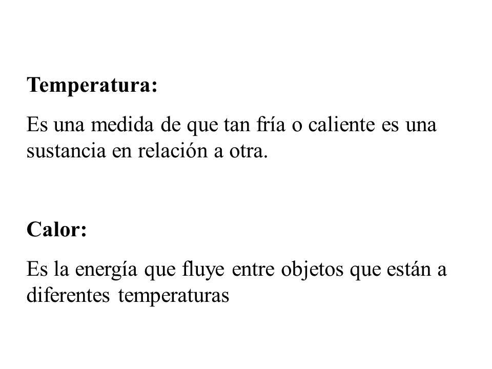 Temperatura: Es una medida de que tan fría o caliente es una sustancia en relación a otra. Calor: