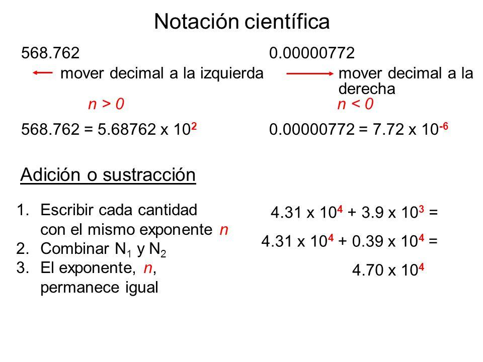 Notación científica Adición o sustracción 568.762 0.00000772