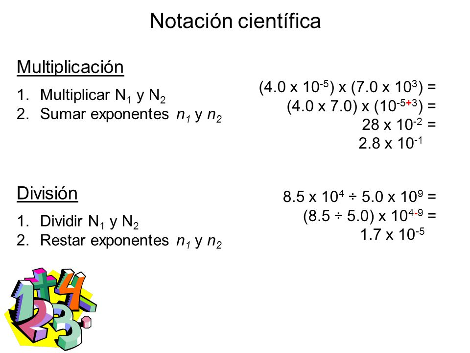 Notación científica Multiplicación División