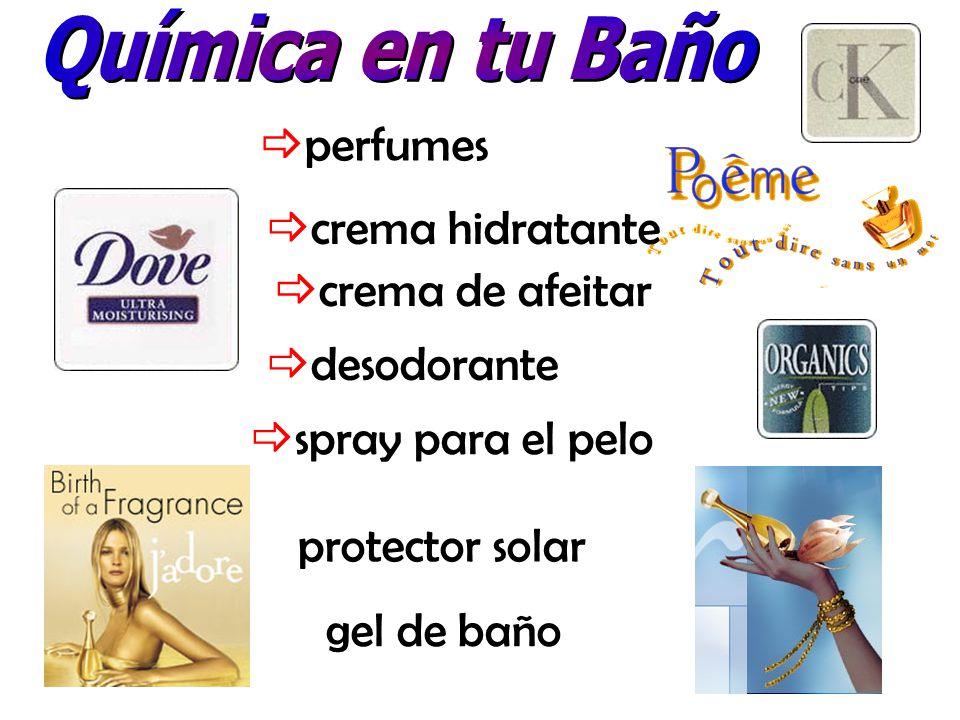 Química en tu Baño perfumes. crema hidratante. crema de afeitar. desodorante. spray para el pelo.