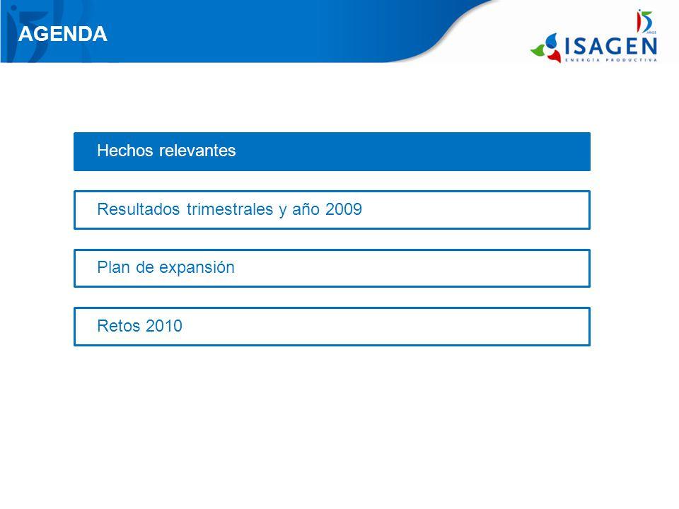 AGENDA Hechos relevantes Resultados trimestrales y año 2009