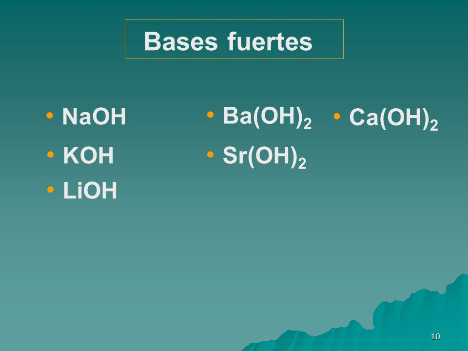 Bases fuertes NaOH Ba(OH)2 Ca(OH)2 KOH Sr(OH)2 LiOH