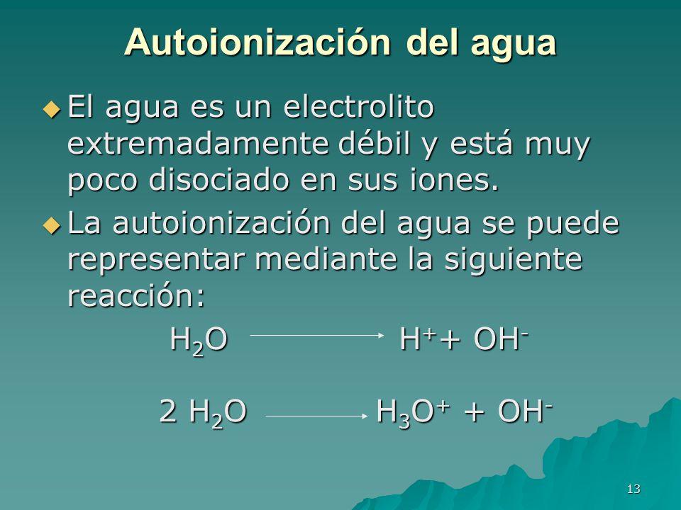 Autoionización del agua