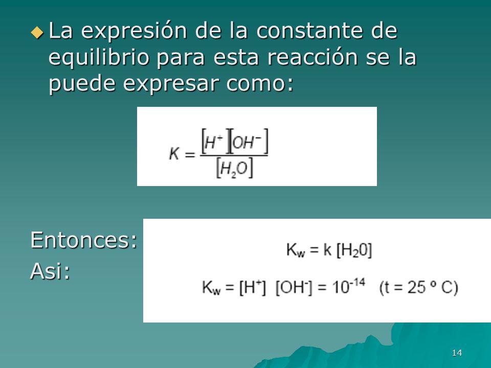 La expresión de la constante de equilibrio para esta reacción se la puede expresar como: