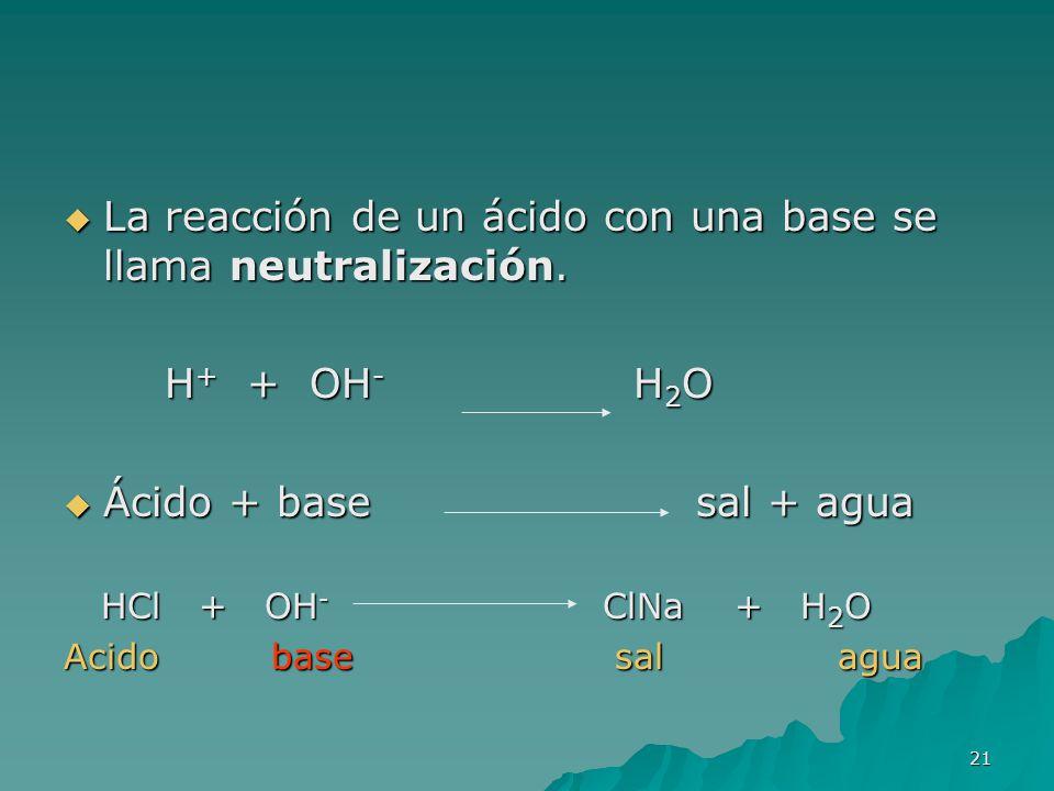 La reacción de un ácido con una base se llama neutralización.