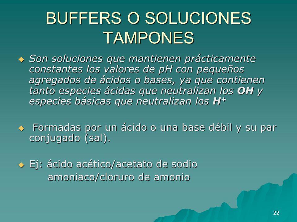 BUFFERS O SOLUCIONES TAMPONES