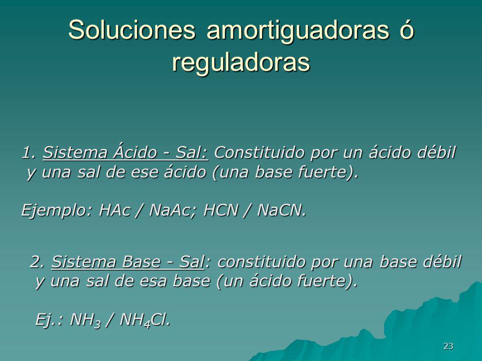 Soluciones amortiguadoras ó reguladoras