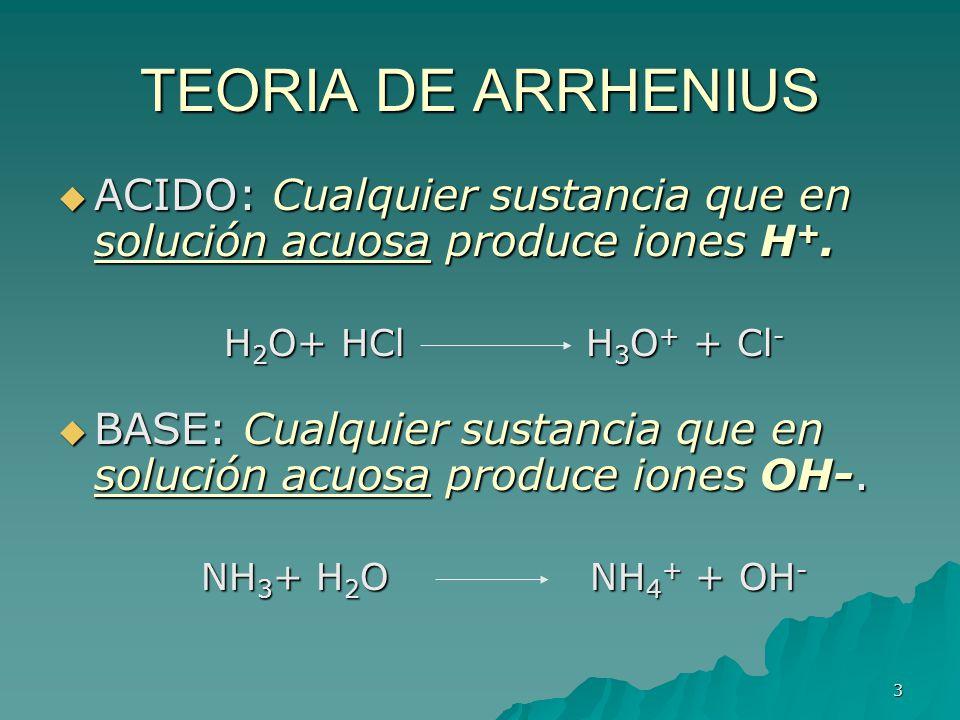 TEORIA DE ARRHENIUS ACIDO: Cualquier sustancia que en solución acuosa produce iones H+. H2O+ HCl H3O+ + Cl-