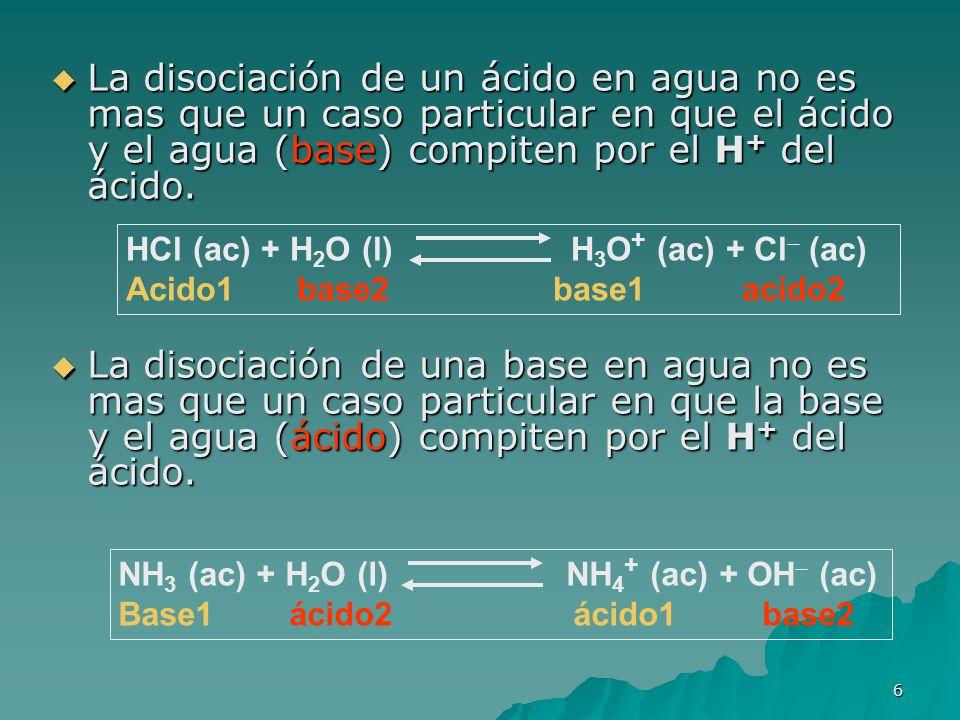 La disociación de un ácido en agua no es mas que un caso particular en que el ácido y el agua (base) compiten por el H+ del ácido.