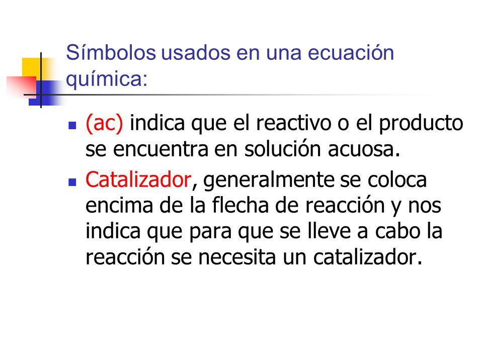 Símbolos usados en una ecuación química: