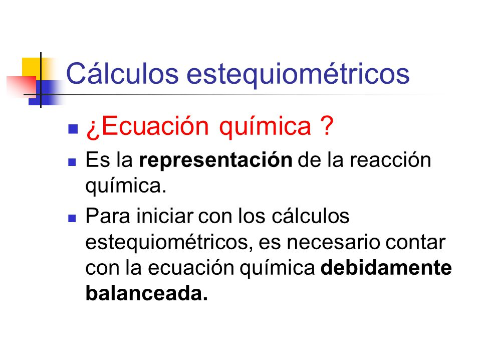 Cálculos estequiométricos