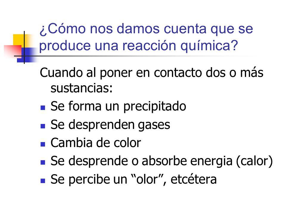 ¿Cómo nos damos cuenta que se produce una reacción química