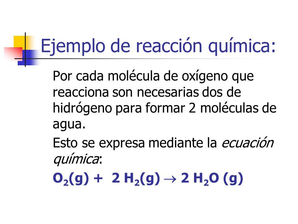 Ejemplo de reacción química: