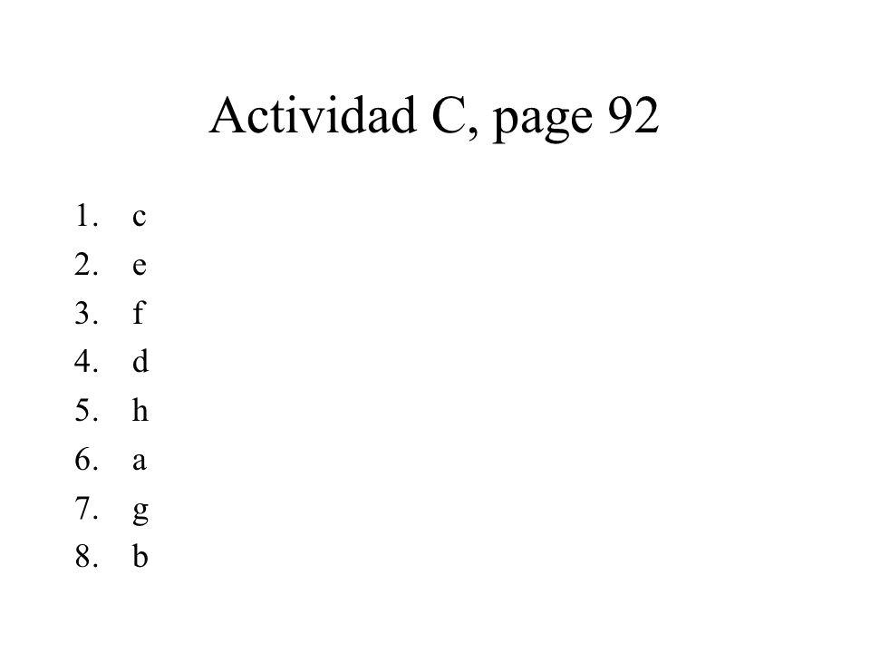 Actividad C, page 92 c e f d h a g b