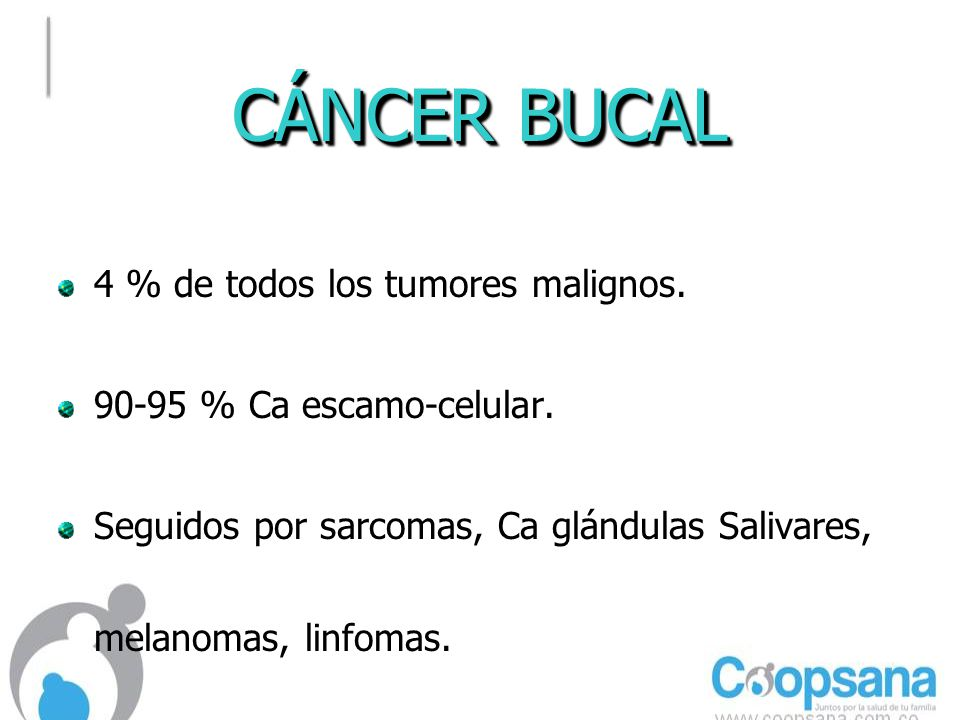 CÁNCER BUCAL 4 % de todos los tumores malignos.