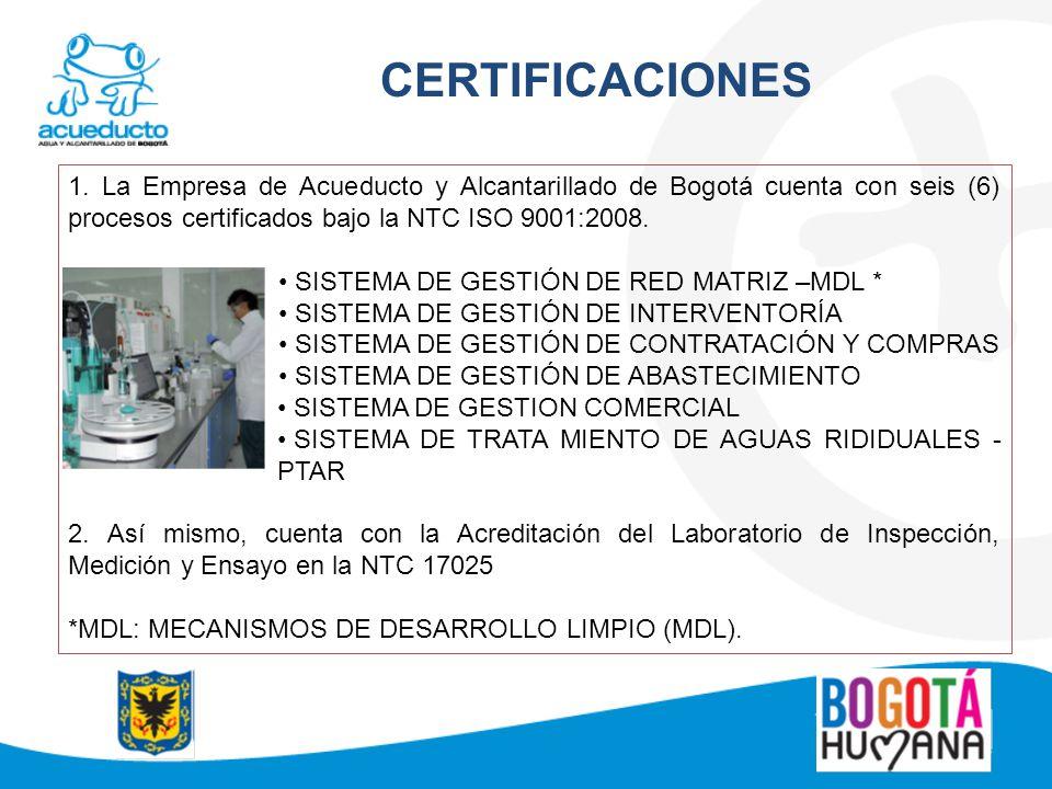 CERTIFICACIONES 1. La Empresa de Acueducto y Alcantarillado de Bogotá cuenta con seis (6) procesos certificados bajo la NTC ISO 9001:2008.