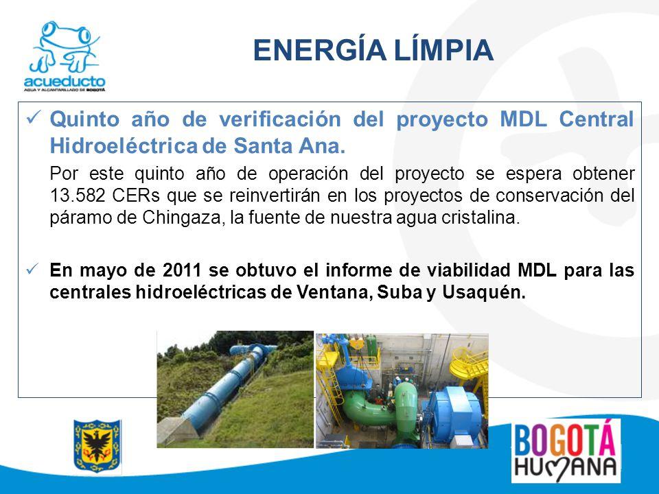 ENERGÍA LÍMPIA Quinto año de verificación del proyecto MDL Central Hidroeléctrica de Santa Ana.