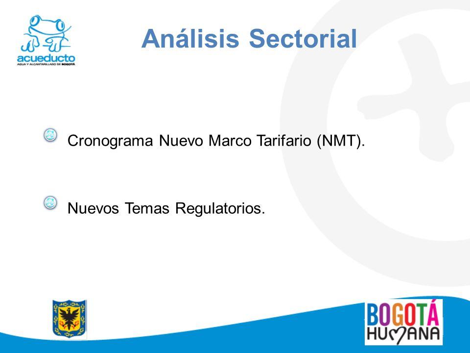 Análisis Sectorial Cronograma Nuevo Marco Tarifario (NMT).