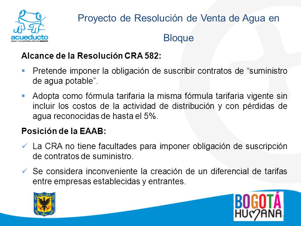 Proyecto de Resolución de Venta de Agua en Bloque