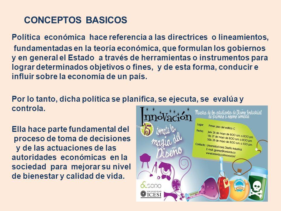 CONCEPTOS BASICOS Política económica hace referencia a las directrices o lineamientos,