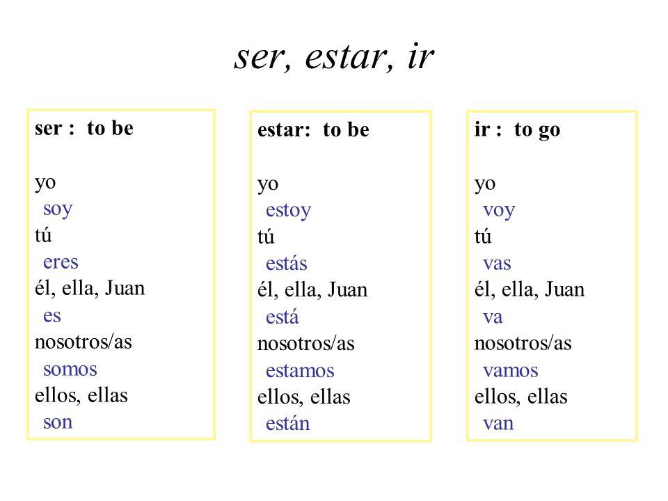ser, estar, ir ser : to be yo soy tú eres él, ella, Juan es