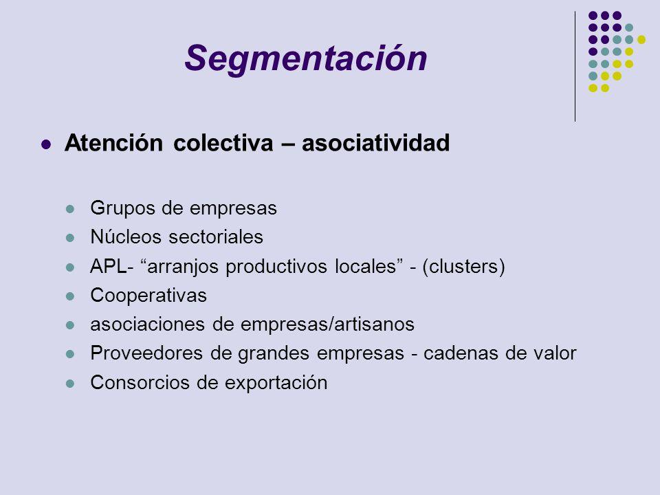 Segmentación Atención colectiva – asociatividad Grupos de empresas