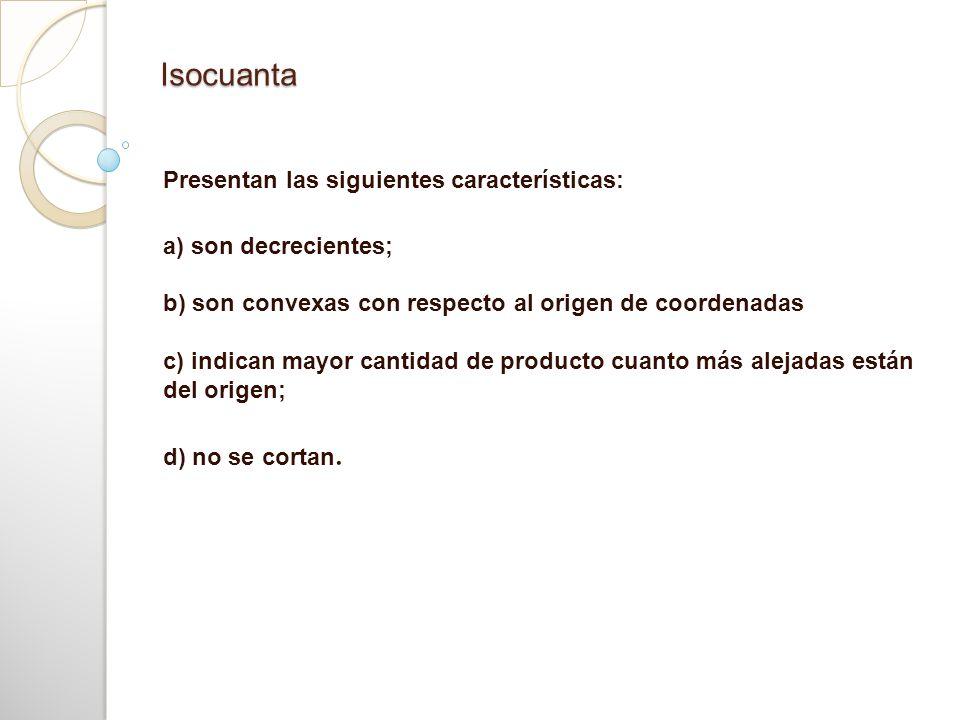 Isocuanta Presentan las siguientes características: