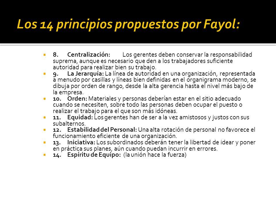 Los 14 principios propuestos por Fayol:
