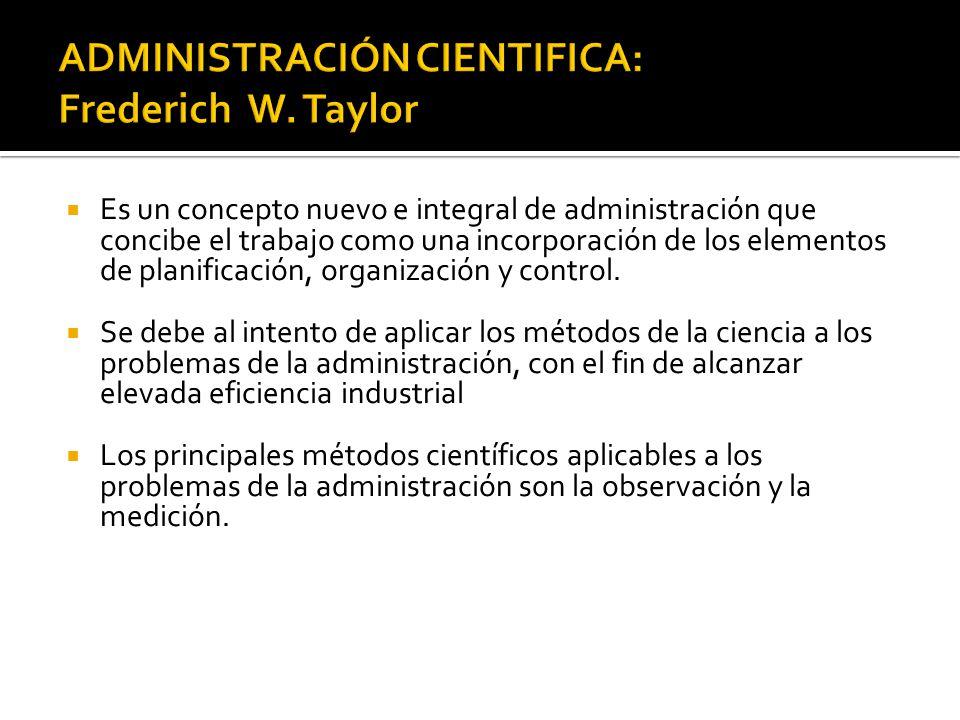ADMINISTRACIÓN CIENTIFICA: Frederich W. Taylor