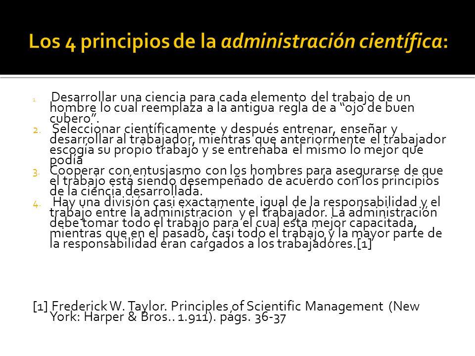 Los 4 principios de la administración científica: