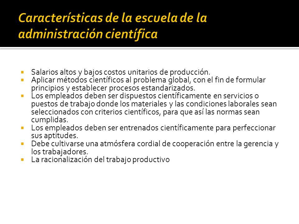 Características de la escuela de la administración científica