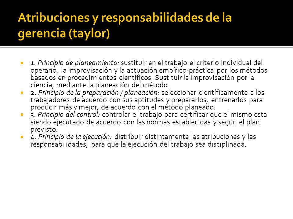 Atribuciones y responsabilidades de la gerencia (taylor)